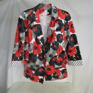 Joan Rivers 10  Blazer Jacket Floral Poppies